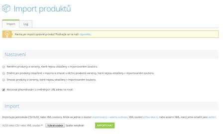 Hromadný import produktů, automatické přesměrování URL