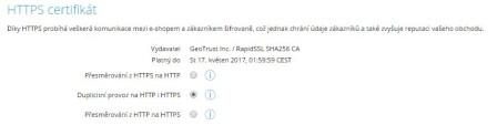 HTTPS - nastaveni eshopu