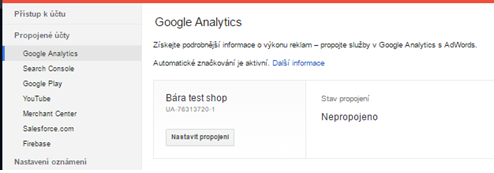 Propojení Google AdWords s Google Analytics