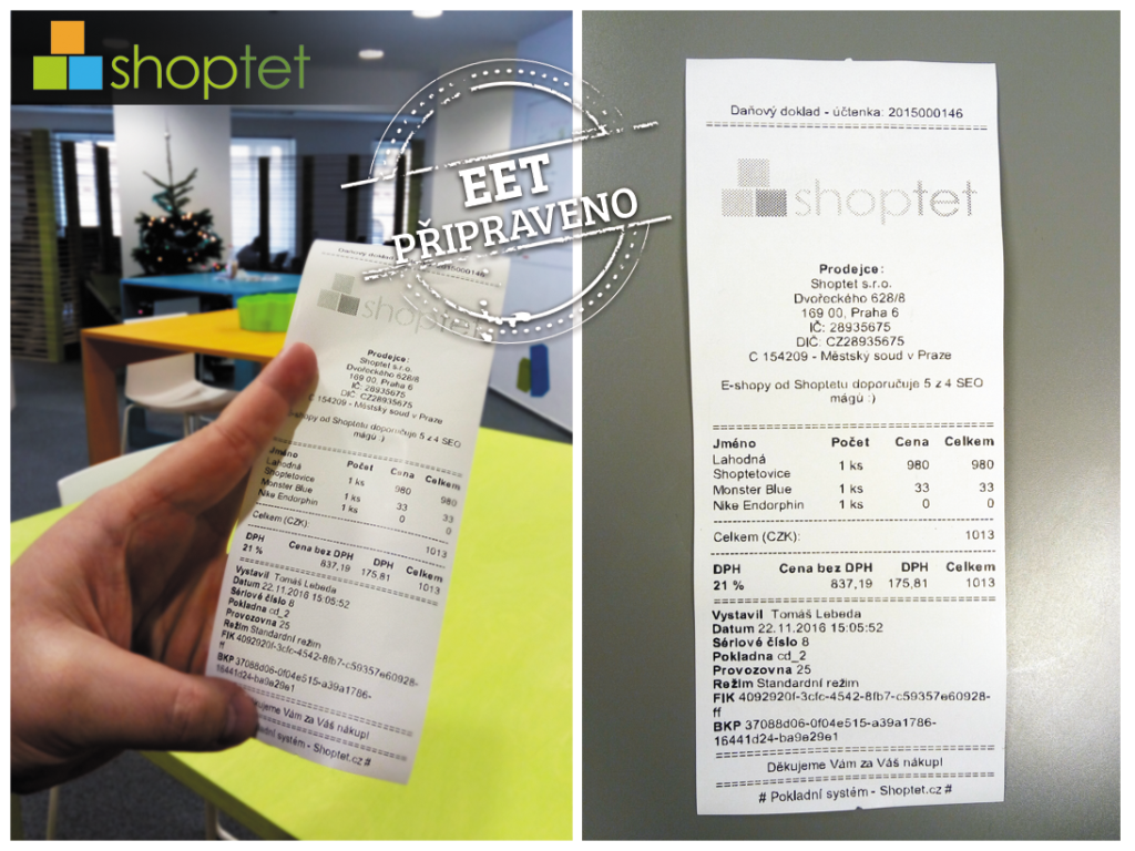 Účtenka - doklad pro EET - Shoptet.cz