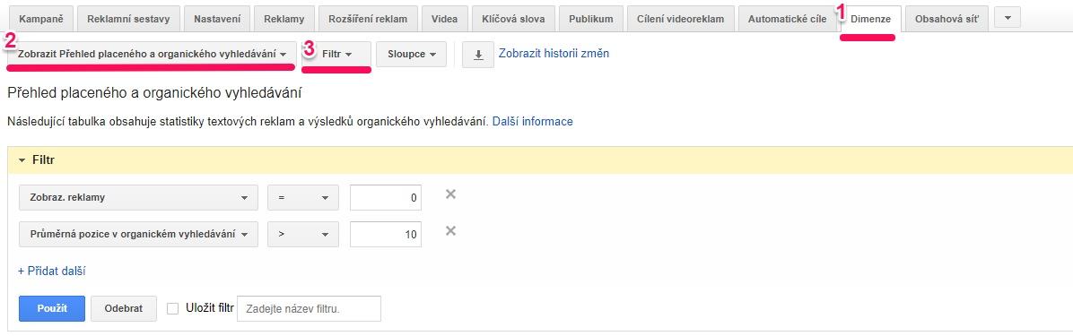 Google AdWords report placeného a organického vyhledávání