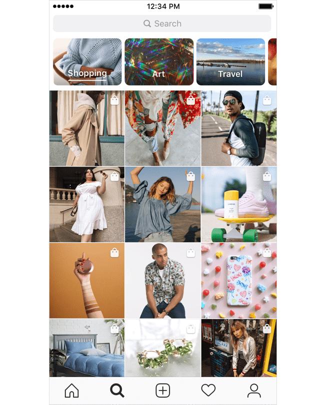 Personalizovaný nákupní kanál na Instagramu.