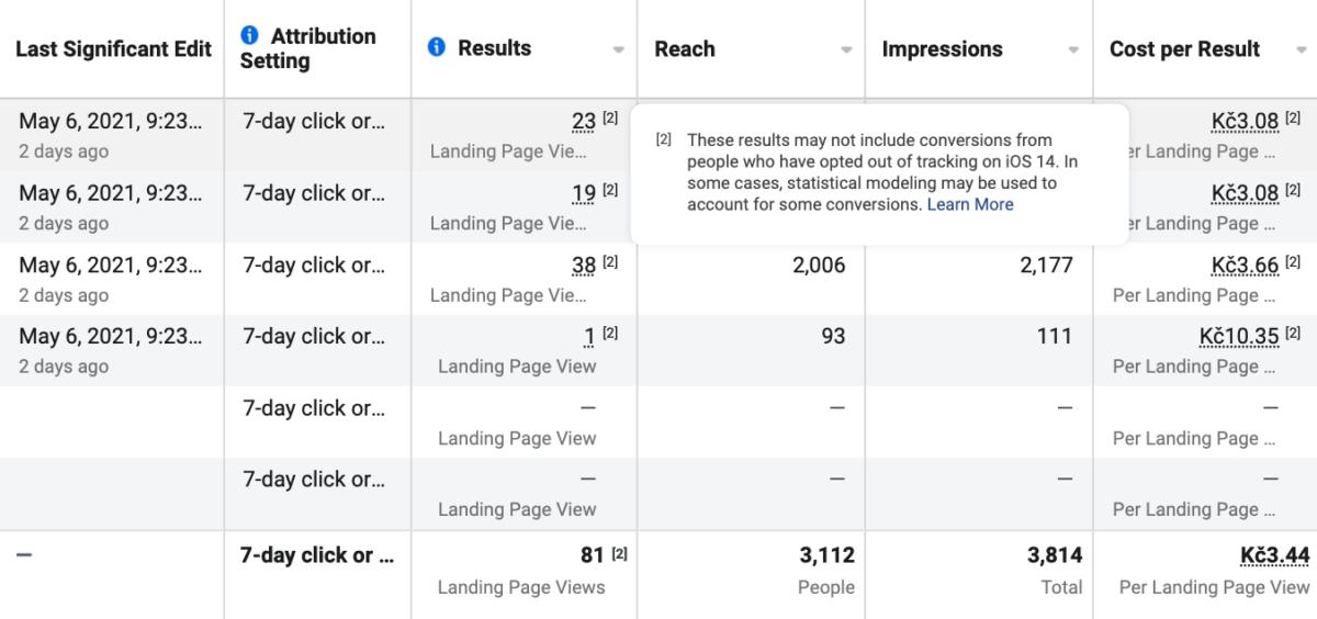 Facebook informuje, že výsledky nemusí zahrnovat konverze z IOS 14